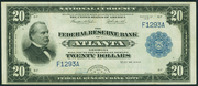 1915 $20 Federal Reserve Bank Note Blue Seal