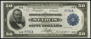 1918 $50 Federal Reserve Bank Note Blue Seal
