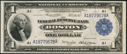 1918 $1 Federal Reserve Bank Note Blue Seal