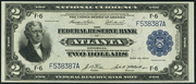 1918 $2 Federal Reserve Bank Note Blue Seal