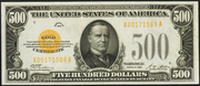 1928 $500 Gold Certificate Gold Seal
