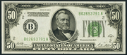 1928A $50 Federal Reserve Note Green Seal