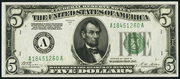 1928B $5 Federal Reserve Note Green Seal