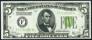 1928C $5 Federal Reserve Note Green Seal