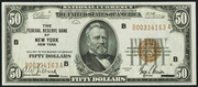 1929 $50 Federal Reserve Bank Note Brown Seal