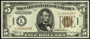1934 $5 World War II Emergency Note Brown Seal