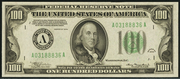 1934 $100 Federal Reserve Note Light Seal Green