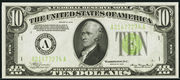 1934 $10 Federal Reserve Note Light Seal Green