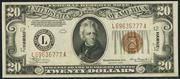 1934 $20 World War II Emergency Note Brown Seal