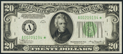 1934 $20 Federal Reserve Note Light Seal Green