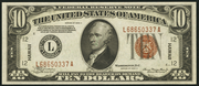 1934A $10 World War II Emergency Note Brown Seal