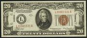 1934A $20 World War II Emergency Note Brown Seal