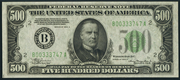 1934C $500 Federal Reserve Note Green Seal