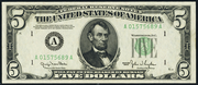 1950 $5 Federal Reserve Note Green Seal