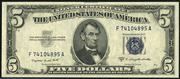 1953B $5 Silver Certificates Blue Seal