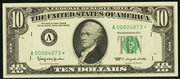 1963A $10 Federal Reserve Note Green Seal