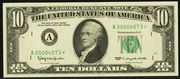 1969 $10 Federal Reserve Note Green Seal