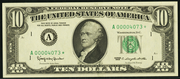 1969B $10 Federal Reserve Note Green Seal