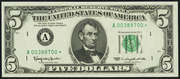 1974 $5 Federal Reserve Note Green Seal