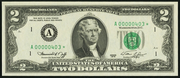 1976 $2 Federal Reserve Note Green Seal