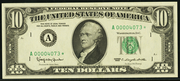 1977 $10 Federal Reserve Note Green Seal