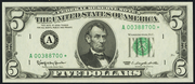 1977A $5 Federal Reserve Note Green Seal