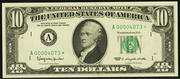 1981 $10 Federal Reserve Note Green Seal