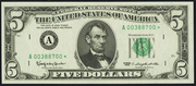 1985 $5 Federal Reserve Note Green Seal
