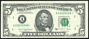1988A $5 Federal Reserve Note Green Seal