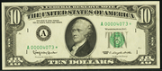 1988A $10 Federal Reserve Note Green Seal