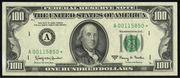 1990 $100 Federal Reserve Note Green Seal