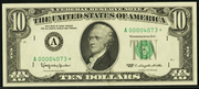 1990 $10 Federal Reserve Note Green Seal