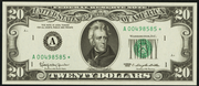 1990 $20 Federal Reserve Note Green Seal
