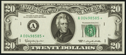1993 $20 Federal Reserve Note Green Seal