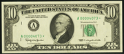1995 $10 Federal Reserve Note Green Seal