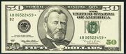 1996 $50 Federal Reserve Note Green Seal