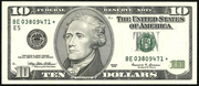 1999 $10 Federal Reserve Note Green Seal