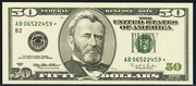 2001 $50 Federal Reserve Note Green Seal