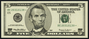 2001 $5 Federal Reserve Note Green Seal