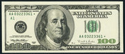 2001 $100 Federal Reserve Note Green Seal