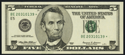 2003A $5 Federal Reserve Note Green Seal