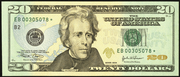 2004A $20 Federal Reserve Note Green Seal