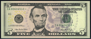 2009 $5 Federal Reserve Note Green Seal