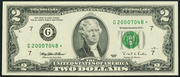 2009 $2 Federal Reserve Note Green Seal