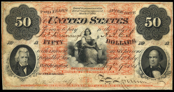 1861 Fifty Dollar Interest Bearing Notes 2yr