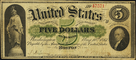 1861 Five Dollar Demand Note