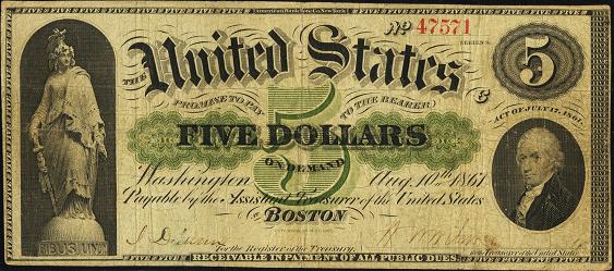 1861 Five Dollar Demand Note
