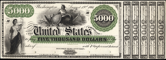 1861 Five Thousand Dollar Interest Bearing Notes 3yr