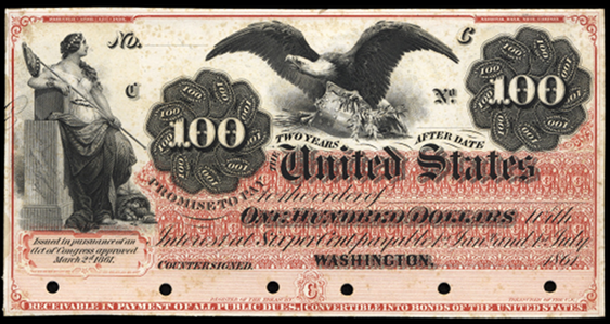 1861 One Hundred Dollar Interest Bearing Notes 2yr