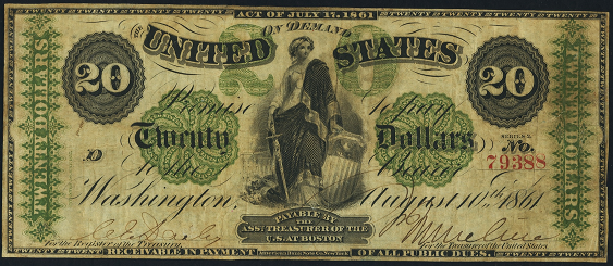 1861 Twenty Dollar Demand Note